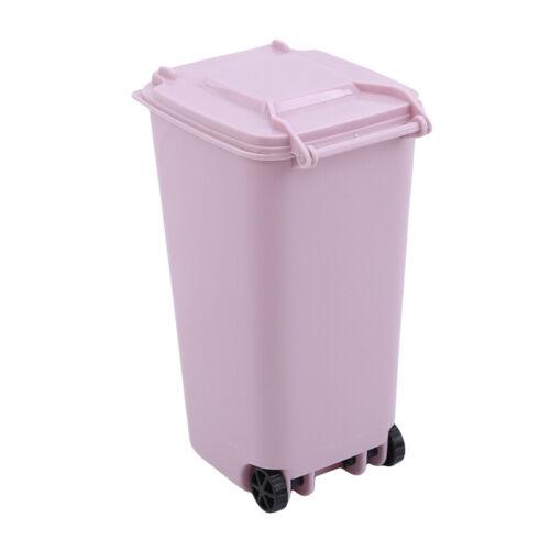 Mini Desktop Garbage Bin Storage Box Trash Can Desk Wastebasket with Lid 8C