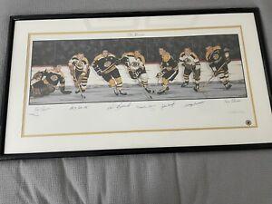 "Boston Bruins Litho Autographed (7) HOFers  39"" x 18"" Matted & Framed COA JSA"