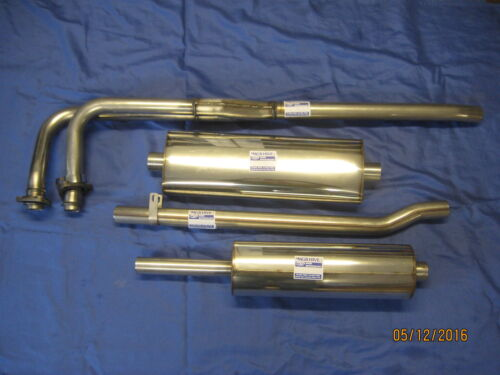 MG 4 PART MGB STAINLESS EXHAUST SYSTEM INC FITTING KIT 1962-69 CHROME BUMPER