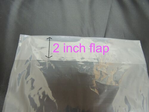 """SHIRT CLEAR PLASTIC BAGS 2/"""" BACK FLAP 1 MIL CLOTHING Quality 200 9 x 12 POLY T"""
