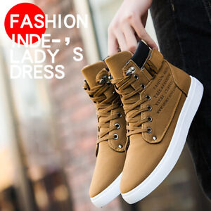 Men-Oxfords-Casual-High-Top-Boots-Leather-Shoes-Lace-up-Canvas-Athletic-Sneakers
