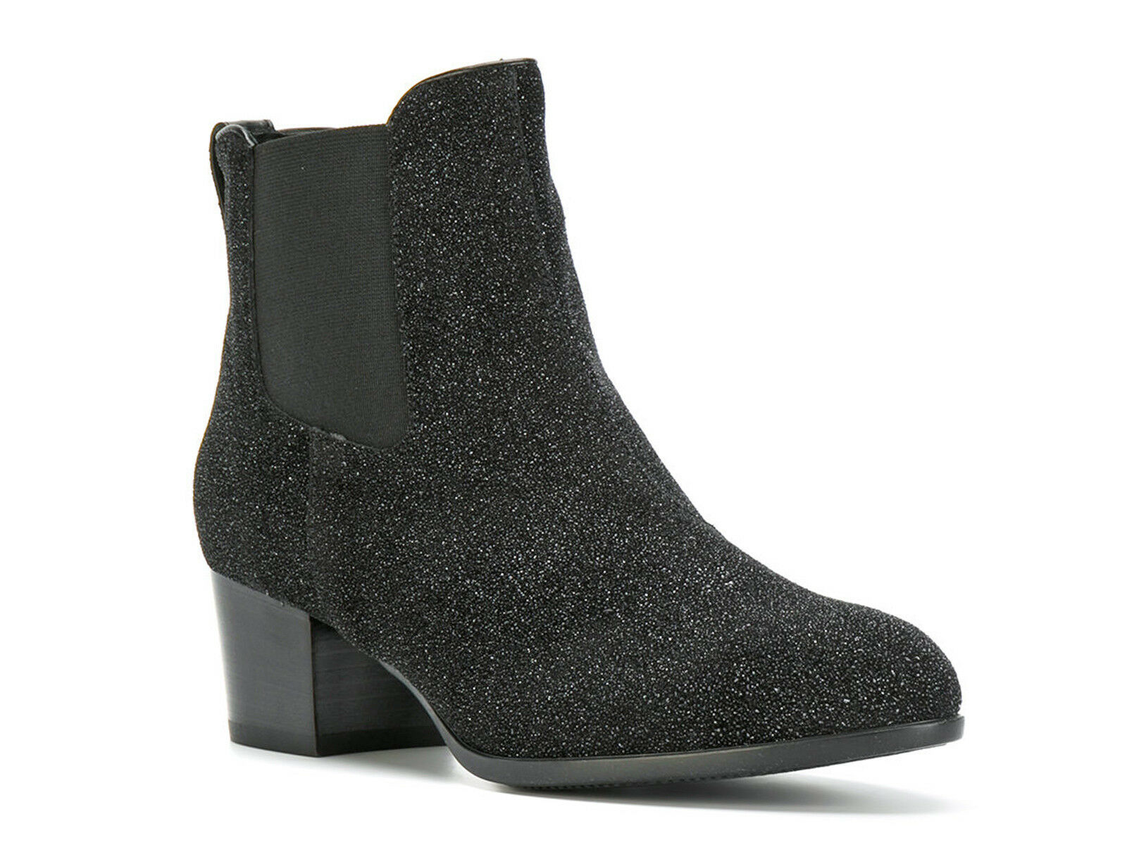 Hogan kitten heel ankle Stiefel in schwarz suede glitter Größe UK 5.5 - IT 38½