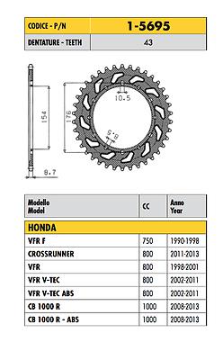1-5695 - Corona Passo 530 Honda Crossrunner 800 2011 2012 2013 2014 Asciugare Senza Stirare