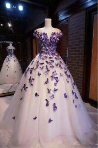 Details about Vintage A Line Wedding Dress Purple Butterflies Applique  Bridal Gown Custom Size