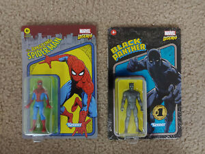 Marvel Legends unpunched 3.75 inch SPIDERMAN & Pulse exclusive BLACK PANTHER