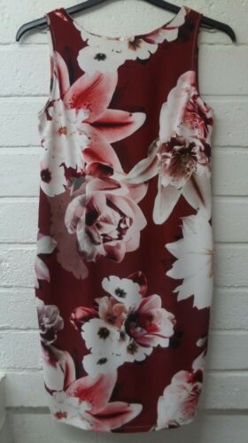 Womens Ladies New Sleeveless Maroon Floral Fitted Shift Dress UK 10-18