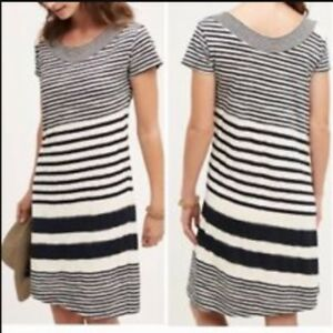 ac1c8022a262 Image is loading Anthropologie-Maeve-Haven-Striped-Sheath-Dress-Boat-Neck-