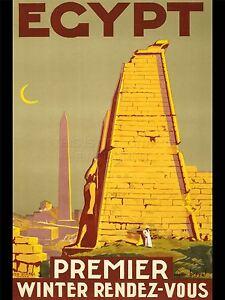 ART-PRINT-POSTER-ADVERT-TRAVEL-TOURISM-EGYPT-OBELISK-TEMPLE-STATUE-NOFL0524