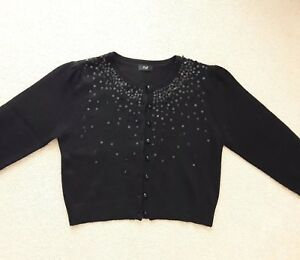 purchase original finest selection great deals 2017 Details about TESCO F&F Ladies black Sequin Crop Christmas cardigan Size 12