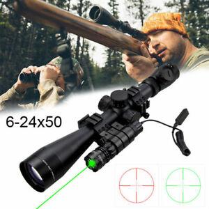 Zielfernrohr-6-24x50mm-mit-Rot-Gruen-Leuchtpunktvisier-fuer-Luftgewehr-Armbrust