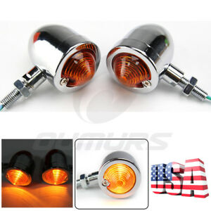 2X Bullet Universal Motorcycle Turn Signals Indicator Amber Blinker Lights Lamp