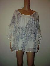 Mes Demoiselles Size 24 White/Blue Batwing  100% cotton Tunic, Top, Blouse