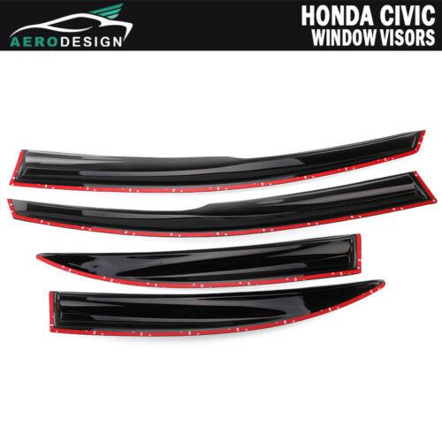 Fit 06-11 Honda Civic 4 Door Sun Window Visor Dark Smoke Slim Style W// Mugen