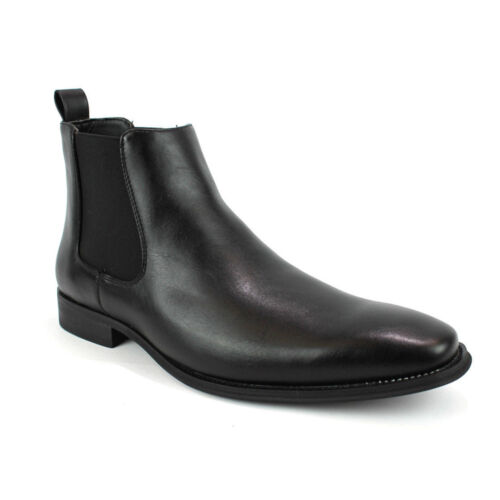 Men/'s Ankle Dress Boots Slip On Almond Round Toe Leather Chelsea Luciano D-510