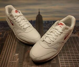 nike air max 1 premium jewel white and university red nz