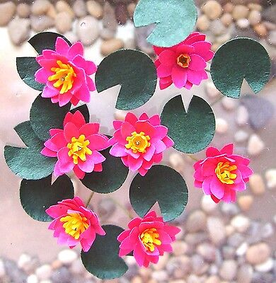 Dolls House FLOWER KIT 'Pink Water lilies' miniature garden 12th FREE UK P&P
