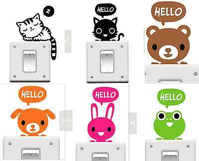 Lot 6pcs Light Switch Sticker Cat Animal Cartoon PVC Vinyl home Decal fun cute