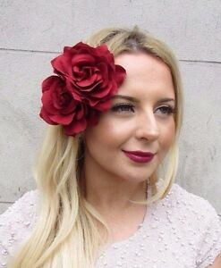 dd70e847e0 Image is loading Large-Double-Red-Rose-Flower-Hair-Clip-Rockabilly-