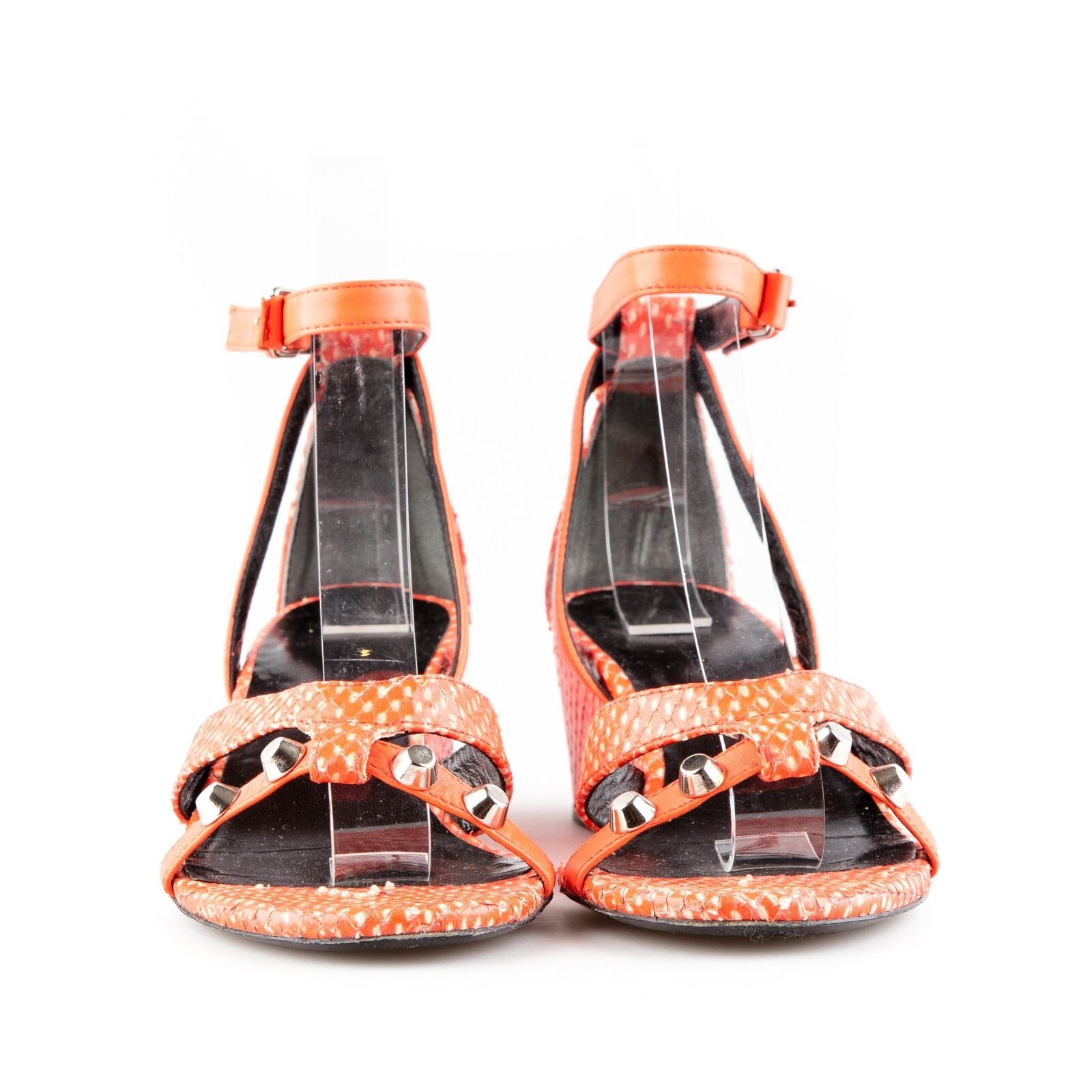Balenciaga Balenciaga Balenciaga arancia Leather Wedge Strappy Sandals - Dimensione 36.5 163211