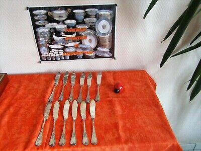 12 Coltelli Pesce Metallo Argentato Corporazioni Di Argentieri Modello Marly