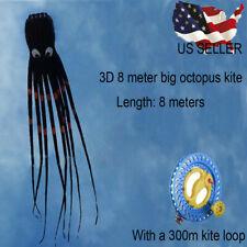 26ft 8m 3D Huge Octopus Power Sport Soft Parafoil Kite Outdoor Toy Single Line