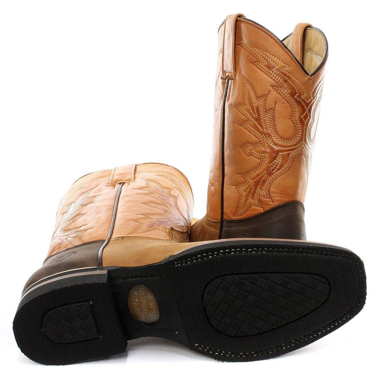 Nouveau Grinders El Paso marron clair en en en cuir véritable cowboy bottes slip on bottes mi-mollet | Exquis Art  813c34
