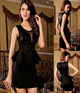 Sz-M-10-12-Black-Sleeveless-Mesh-Peplum-Formal-Dance-Party-Sexy-Cocktail-Dress