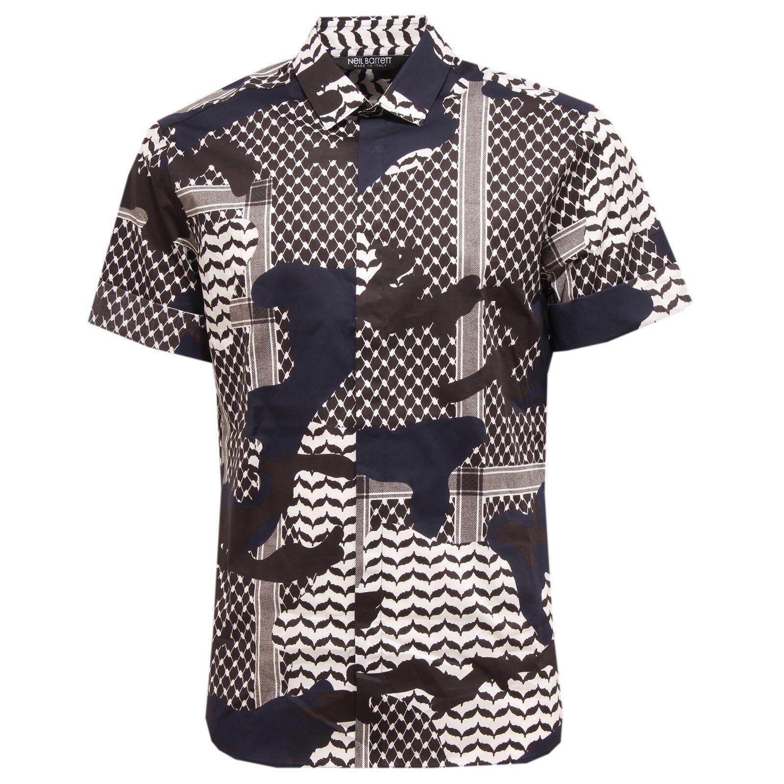 6280T camicia uomo NEIL BARRETT manica corta multicolore shirt short sleeve men