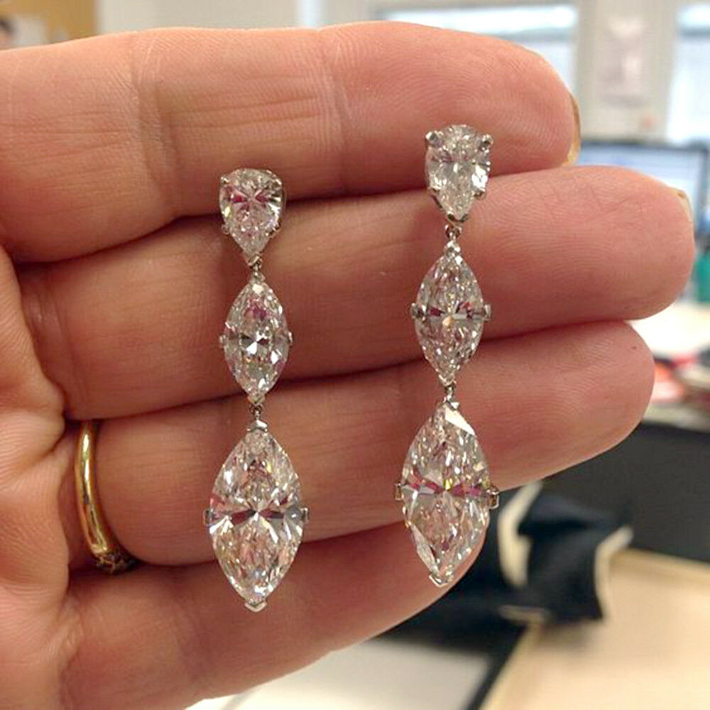 5.00 Ct Diamond Marquise Cut 14K White gold Finish Drop Dangle Earrings