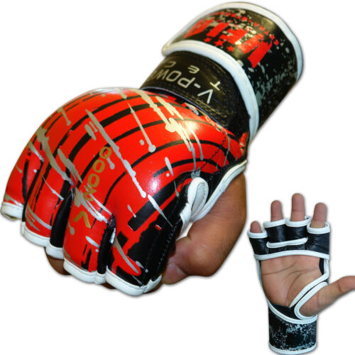 VELO MMA Gloves Leather Tech MMA UFC Fight Boxing Punch Bag Red