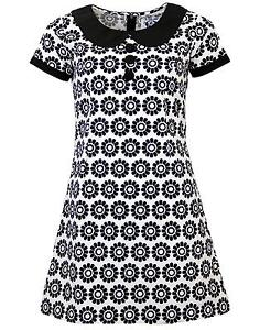 Details about NEW RETRO SIXTIES INDIE MOD MINI DRESS 60s Vintage BLACK  COLLAR DAISY MC146