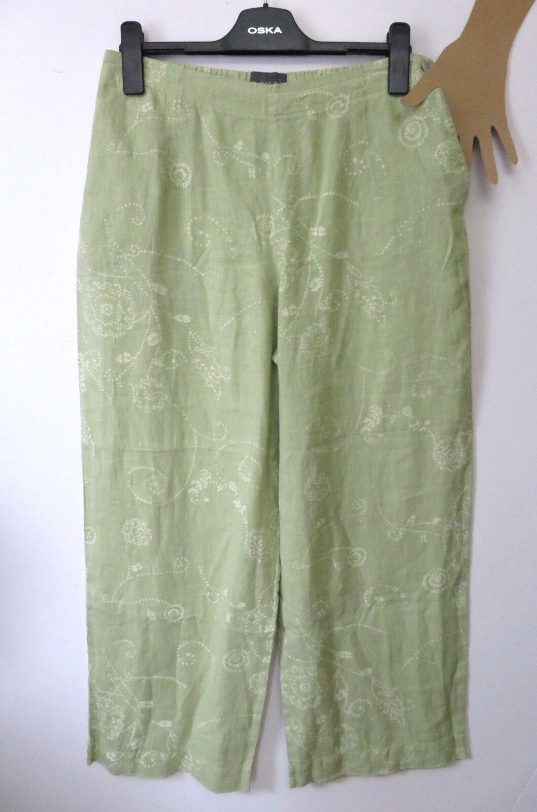 OSKA Größe 3 Apple Grün Floral Pattern 100% Linen Trousers Elastic Waist QUIRKY