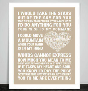 The Real Thing You To Me Are Everything Love Song Lyric Print