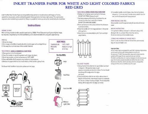 LIGHT FABRICS TRANSFER PAPER FOR INK JET PRINTING MADE IN USA RED GRID 100 SHEET