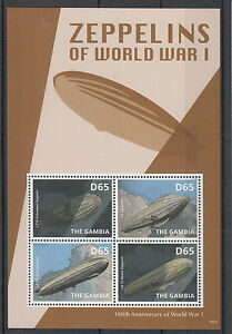 Gambia 2014 MNH Zeppelins of World War One 100th Anniv WWI 4v M/S First L3 LZ10