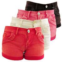 Ladies Sexy Denim Hot Pants Diamante Bling Shorts Red Black White Pink Size 8-14