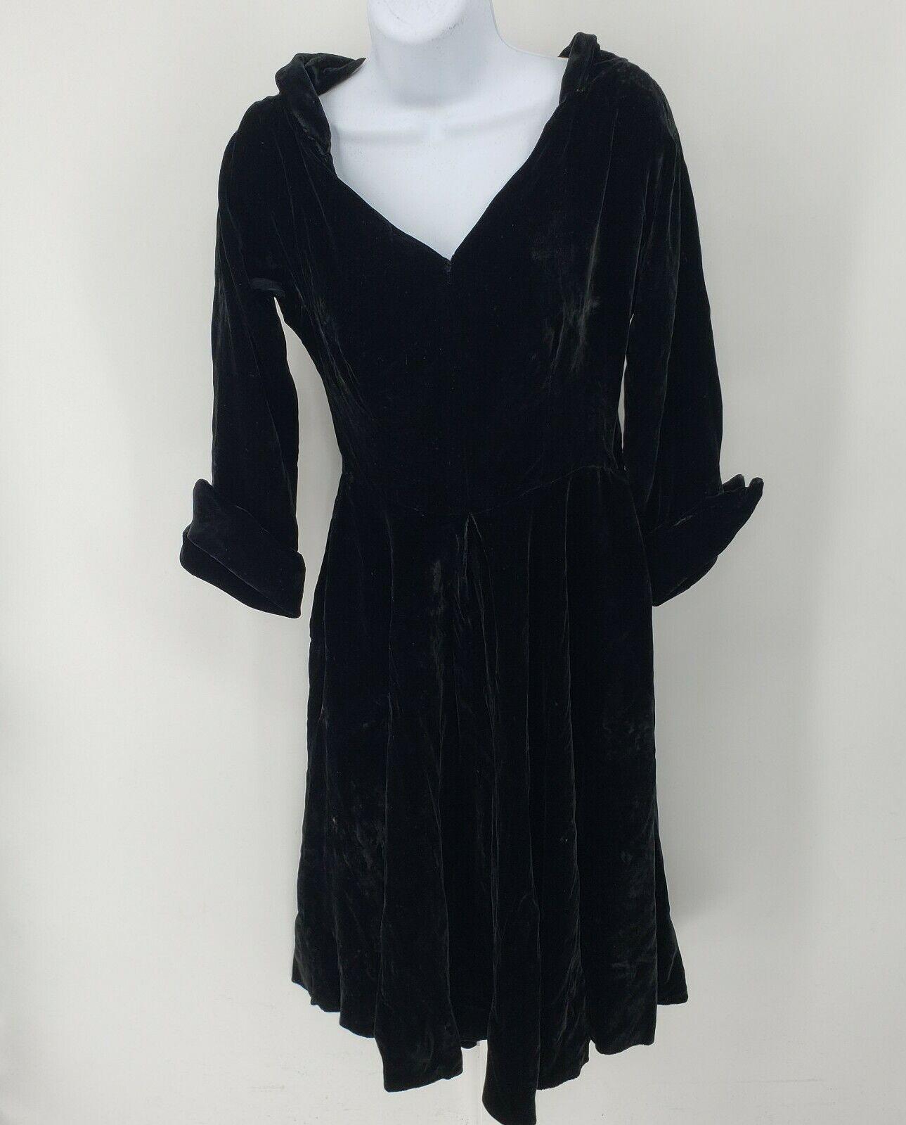 Ceil Chapman Collared Black Velvet Gown  Peplum T… - image 1