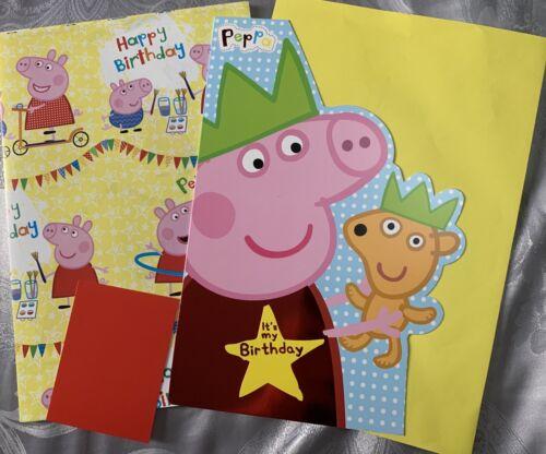 1 Sheet Wrap Peppa Pig Gift Wrap Set Matching Birthday Card And Tag-Free P /& P
