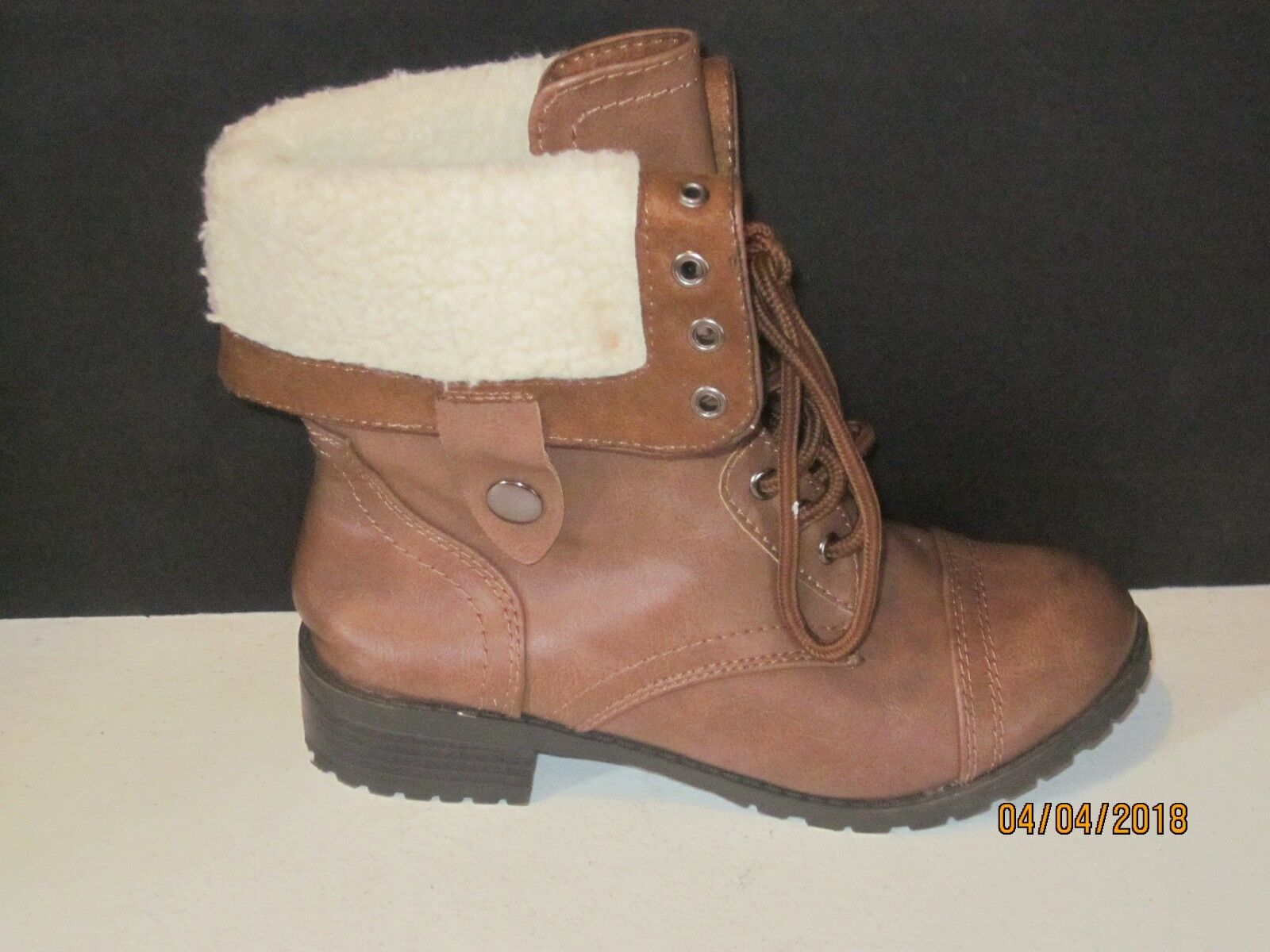 Soda 6.5  brown Combat / Military Laceup Faux Fur Casual Boots j28