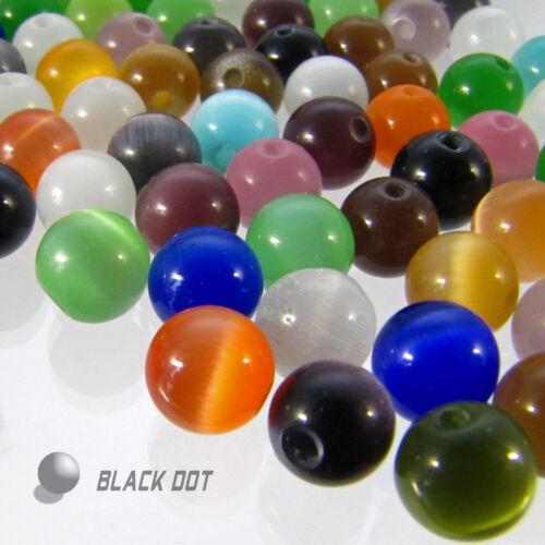 Glasperlen Mix Multifarbig Cateye Perlen 7-8mm 48 Stück Katzenauge Schimmerend