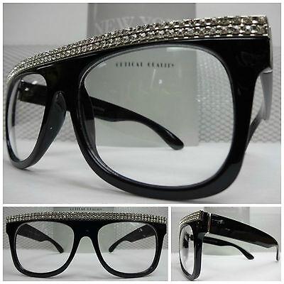 Men's or Women OVERSIZE VINTAGE Style Clear Lens EYE GLASSES Black Fashion Frame
