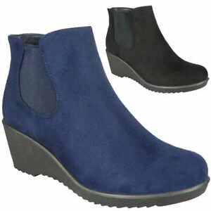 Womens Wedge Boots Ladies Casual Mid