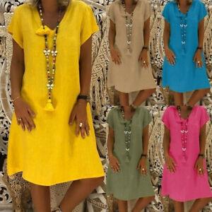 Details about Women Plus Size Summer Short Sleeve T-Shirt Cotton Linen  Dress Loose Lady Dress