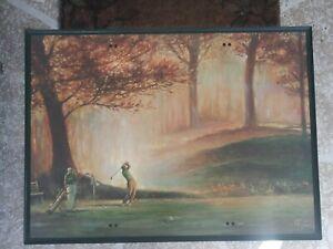 Vintage-TV-Tray-Table-Golf-Scene-by-R-F-Harnett
