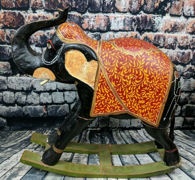 Wondrous Wooden Hand Carved Elephant Rocker India Asian African Tribal Folk Art Large Unemploymentrelief Wooden Chair Designs For Living Room Unemploymentrelieforg