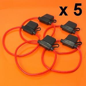 5-X-Porta-fusible-en-linea-12V-30A-DC-Para-hoja-fusibles-a-prueba-de-salpicaduras-estandar-Auto-Moto