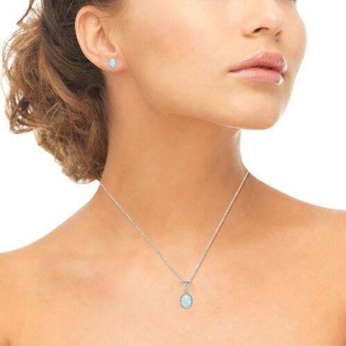 925 Silver Simulated White Opal /& White Topaz Oval Halo Necklace /& Earrings Set