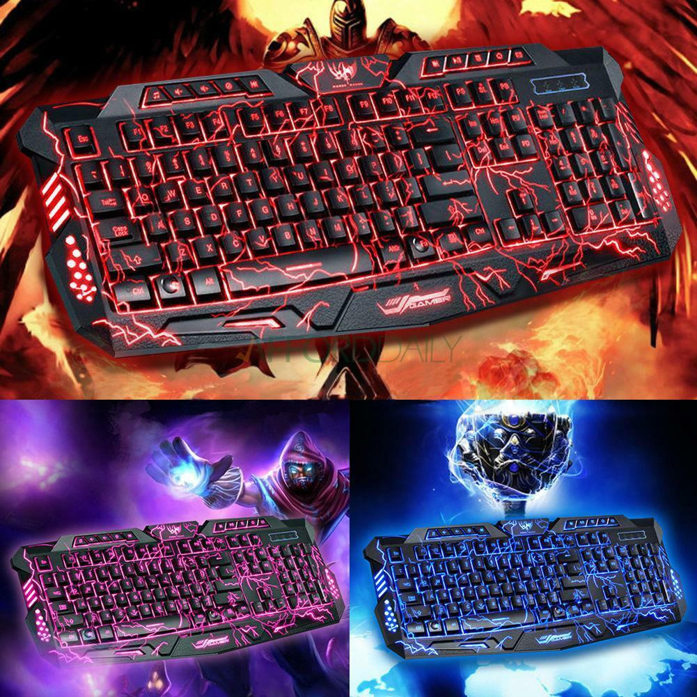 3 Colors Crack Illuminated LED 114-Key Backlight USB Wired PC Gaming Keyboard US 1