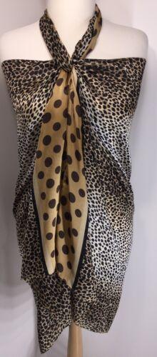 Silk Scarf Animal Print Spots Gold Silky Soft Cool Long Oversized Stunning NEW