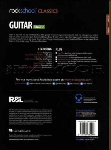 Rockschool Classics Guitar Grade 2 TAB Music Book//Audio Bon Jovi AC//DC Metallica